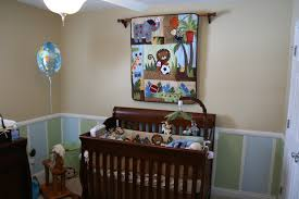 Safari Bathroom Ideas Brown Wooden Cradle Combined By Brown Animal Theme Blanket Hanging
