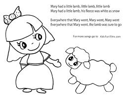 mary lamb coloring kids coloring