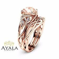 morganite wedding set 2 carat morganite engagement rings 14k gold ring set unique