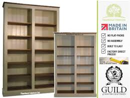 solid wood bookshelves 6ft x 4ft split bookcase in bare wood