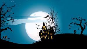 halloween background cat and pumpkin holiday halloween scary house horror creepy full moon castle trees