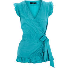 turquoise blouse turquoise wrap frill top oasis polyvore