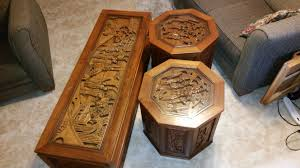 asian hand carved teak wood coffee tables antique appraisal