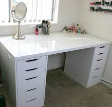 Ikea Table Top by White Minimalist Makeup Vanity And Storage Ikea Linnmon And Alex