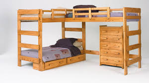 Wooden Loft Bunk Beds Bed Bath L Shaped Wood Loft Bunk Beds With Drawer For