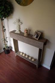 Small Entryway Table by Narrow Rustic Sideboard Table Beside Indoor Topiary Tree Using