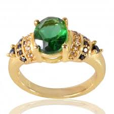 green gemstones rings images Light green spinal stone and white cubic zirconia yellow gold jpg