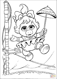 baby miss piggy is walking on a coloring page free
