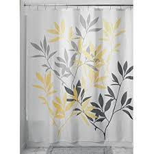 Leaf Design Curtains Amazon Com Interdesign Leaves Shower Curtain Gray And Yellow 72