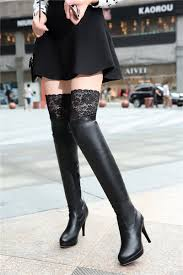 new women shoes red bottom thigh high boots platform thin heels