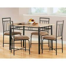 4family 5 piece dining table set 4 chairs glass metal kitchen room