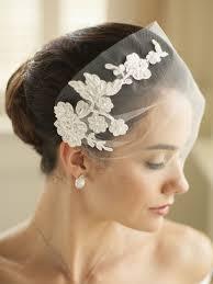 wedding veils tulle bandeau visor veil with beaded lace applique 4085