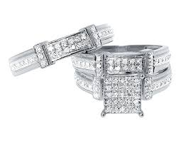 Trio Wedding Ring Sets by 10k White Gold Mens Ladies Round Pave Diamond Wedding Trio Ring
