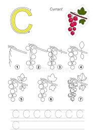 tutorial vector c drawing tutorial game for letter c the red currant stock vector