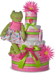 pink frog 4 tier diaper cakes baby shower diaper cakes unique
