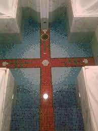 baptismal pools cross in bottom of st kateri baptismal pool churches