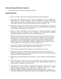 Resume Duties Examples by Resume Of Qaqc Inspector Coating Painting And Insulation