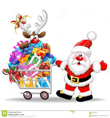 santa with shopping cart full of gifts stock photos image 16200733