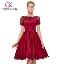 grace karin short sleeve knee length dark red satin prom dress