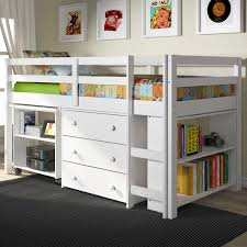 girls low loft bed bedroom mini white bunk bed with steps and wall shelves for