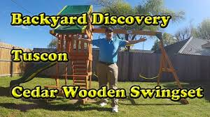 backyard discovery tucson cedar wooden swing set youtube