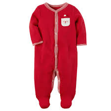 s santa chest applique thermal footed pajamas