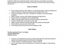 spanish teacher resume example sample teacher resume sample