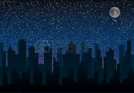 backdrop city vector silhouette of the city against the backdrop of a starry