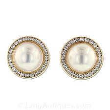 pearl diamond earrings mabe pearl and diamond earrings