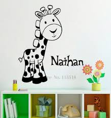 compare prices on girls nursery decor online shopping buy low e115 giraffe baby warm story custom name wall stickers decal girls kids room wall personalized name