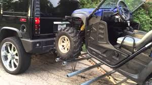 jeep hauling trailer side by side atv on a tow dolly trailer rhino rzr youtube