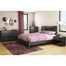 Bed With Attached Nightstands Timeless Platform Bed Gray Oak Queen South Shore Target