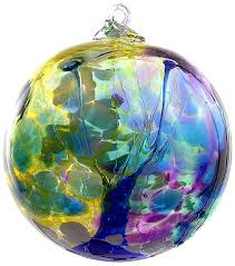 kitras blown glass 6 orb blue water