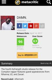 Seeking Metacritic Just A Reminder That Damn Is Still Sitting At A 96 On Metacritic