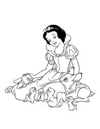 printable version of snow white snow white is playing with the forest animals coloring page free