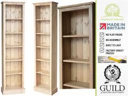 solid pine or oak 6ft tall narrow slim jim bookshelves