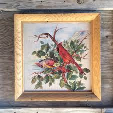 Vintage Home Decorations Victorian Red Cardinal Bird Linen Fabric Framed Chinoiserie