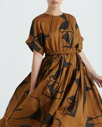 black crane pleated dress teak u0026 black print b garmentory