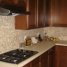 Classic Kitchen Ideas With Brown Glass Lowes Tile Backsplash Teak - Lowes kitchen backsplash