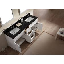 White Bathroom Vanity With Black Granite Top by Ace 73 Inch Transitional Double Sink Bathroom Vanity Set In White