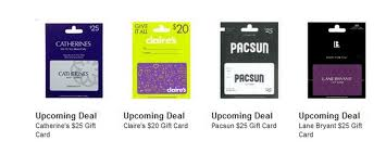 claires gift card upcoming gift card deals catherine s s pacsun and