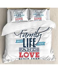duvet cover set quote family love typo with pillow sham s