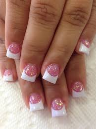love the pink glitter with white tips nails pinterest pink