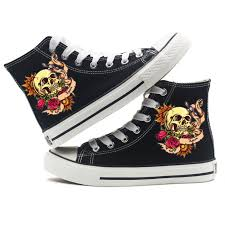 skull canvas shoes rose flower tattoo high top sneakers for teens