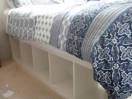 How To Make A Platform Bed Frame With Drawers by Expedit Re Purposed As Bed Frame For Maximum Storage Ikea