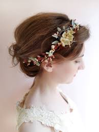 floral hair accessories burgundy and gold floral headband for marsala wedding