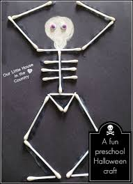 Halloween Crafts For Kindergarten Dancing Skeletons U2013 Cotton Bud Skeletons Our Little House In The