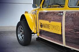 yellow baja bug native tomato 1970 bug partial wrap car wrap city