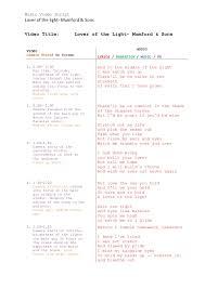 Lights And Camera Lyrics Music Video Script Lover Of The Light