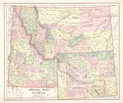 Montana Hunting Maps by Map Antique Montana Idaho And Wyoming 1892 From The Columbian